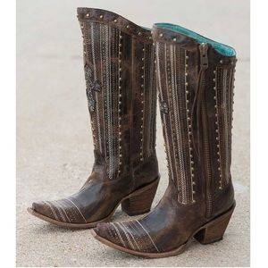 Corral Embroidery Bead Crystal Cross Western Boots